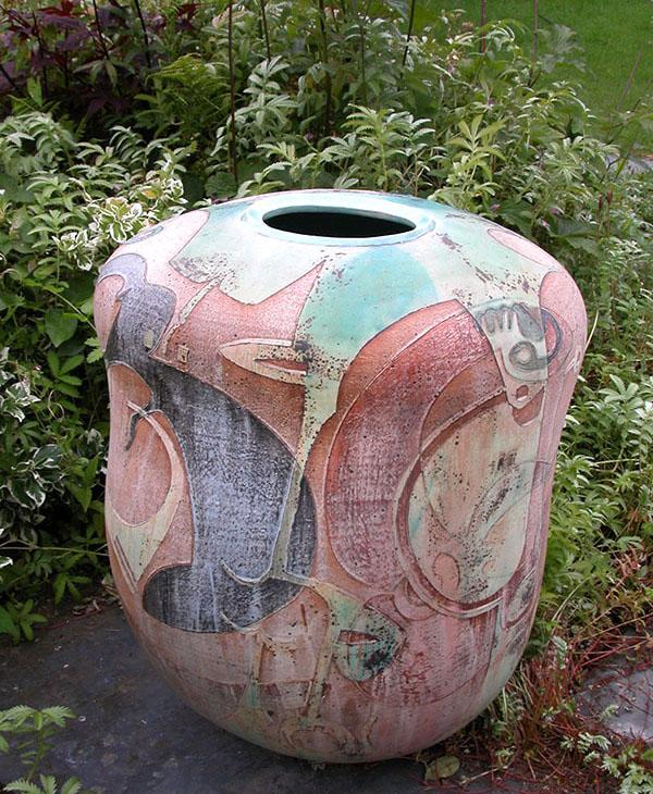 An asymetrical Garden Urn by Linda John