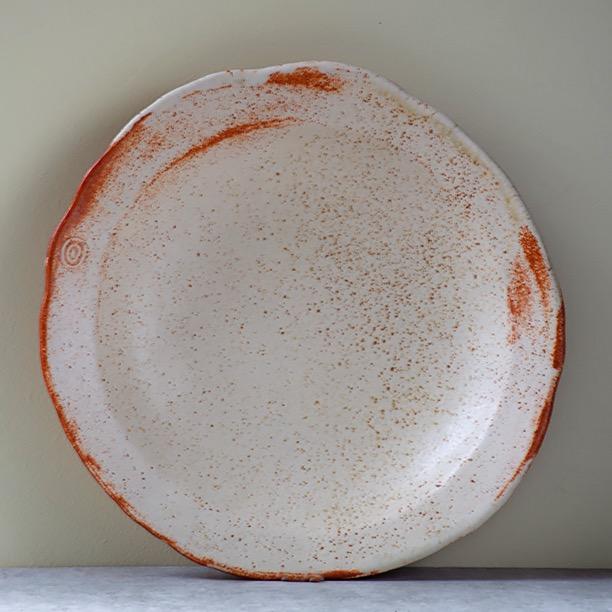 Small Starter Plate with Cream and Orange Glaze