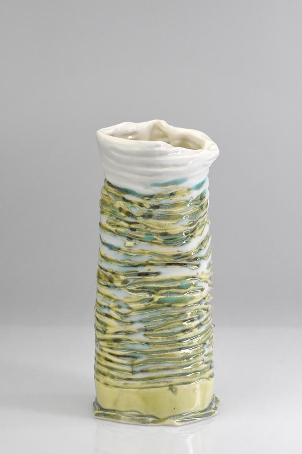 Porcelain flow-form vase.